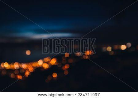 Blurred Lights Of Night Trieste City Landscape. Europe, Italy, Trieste City Glowing Night Lights, Me