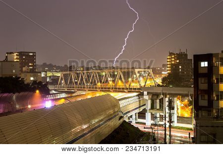 Lightning Bolt Strikes A Japanese City During Intense Storm