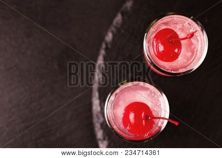 Alcoholic Cocktail Sour Cherry Gin Or Porch Crawler