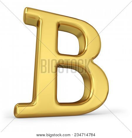 Gold Letter B Isolated on White Background. 3D Illustration. Golden Alphabet Collection.