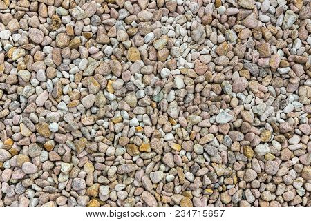 Abstract Small Stone Background, Texture Stone. Pile Of Pastel Colored Stones.