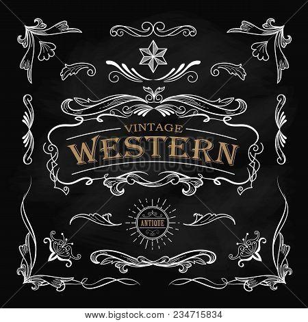 Western Hand Drawn Elements Frame Label Blackboard Vintage Banner Vector Illustration