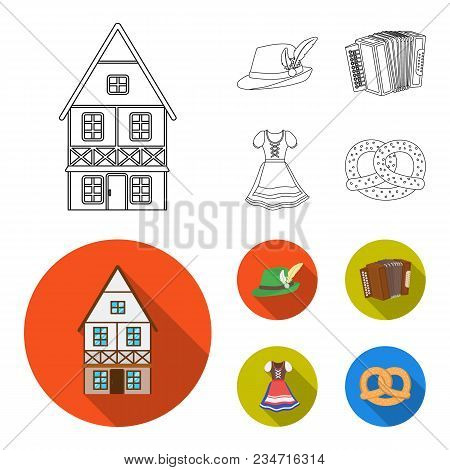 Tyrolean Hat, Accordion, Dress, Pretzel. Oktoberfestset Collection Icons In Outline, Flat Style Vect