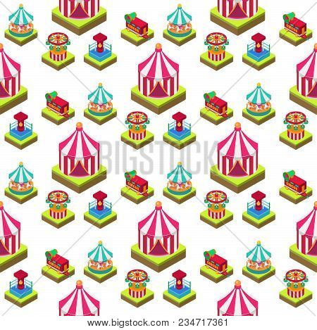Circus Isometric Tent Marquee Marquee Seamless Pattern Background With Stripes And Flags Carnival En
