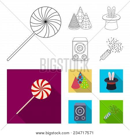Tricks, Music And Other Accessories At The Party.party And Partits Set Collection Icons In Outline,
