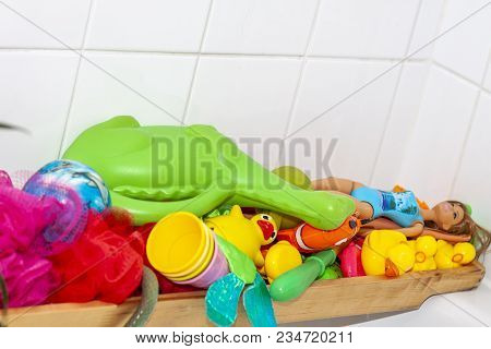 Essen , Germany - March 25 2018 : Variety Of Rubber Bath Ducks And Toys In The Bathroom