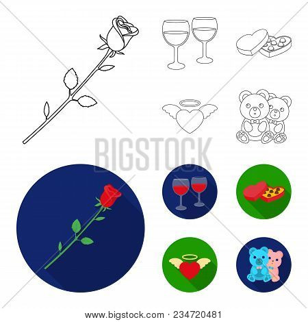 Glasses With Wine, Chocolate Hearts, Bears, Valentine.romantik Set Collection Icons In Outline, Flat