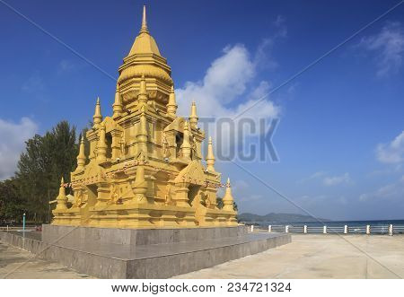 Laem Sor Pagoda Small, Golden Pagoda With Ornate Details In A Serene Oceanfront Setting In Taling Ng