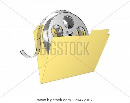3D Folder With Film Reel. Isolated On The White Background