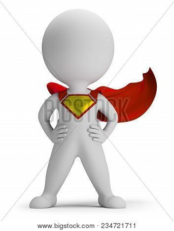 3d Small Person The Superhero Standing In A Confident Pose In A Raincoat. 3d Image. White Background