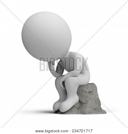3d Small Person Sitting In A Thoughtful Thinker Pose On A Stone. 3d Image. White Background.