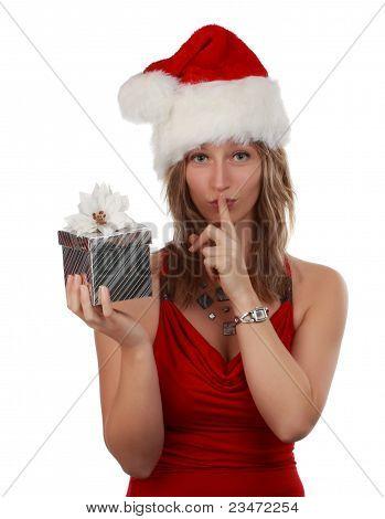 Cute Girl Holding Xmas Gift