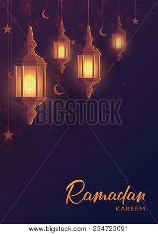 Ramadan Kareem Festive Flyer. Beautiful Greeting Card Design With Lantern Or Fanoos In Paper Art Sty