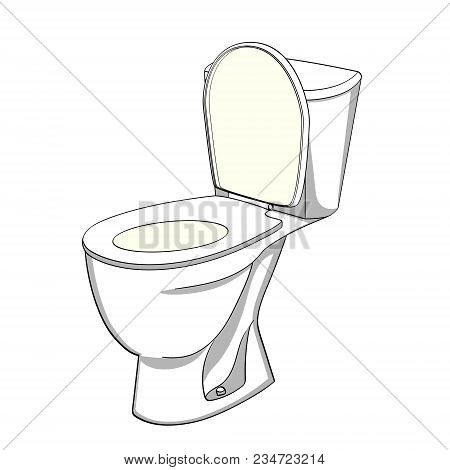 Object On White Background Flush Toilet Also Known As A Flushing Toilet, Flush Lavatory Or Water Clo