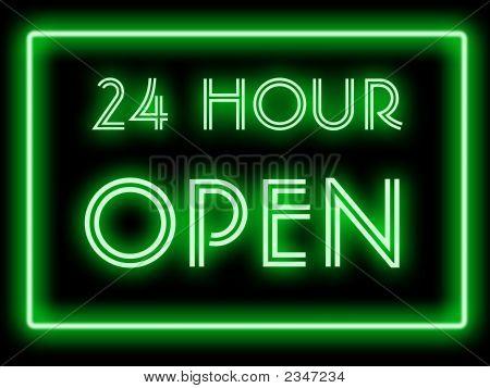 24 Hour Open Neon