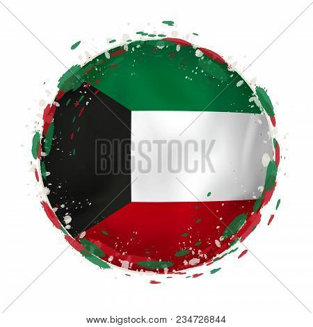 Round Grunge Flag Of Kuwait With Splashes In Flag Color. Vector Illustration.