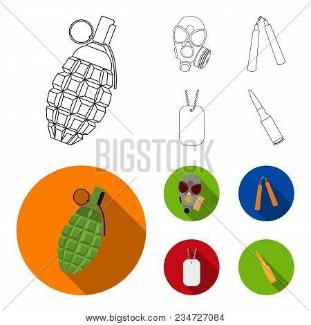 Gas Mask, Nunchak, Ammunition, Soldier Token. Weapons Set Collection Icons In Outline, Flat Style Ve