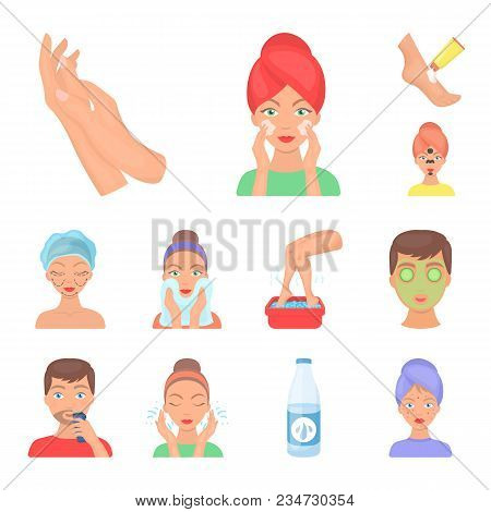 Skin Care Cartoon Icons In Set Collection For Design. Face And Body Vector Symbol Stock  Illustratio