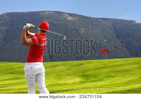 Alone Man Playing Golf During Sunny Day