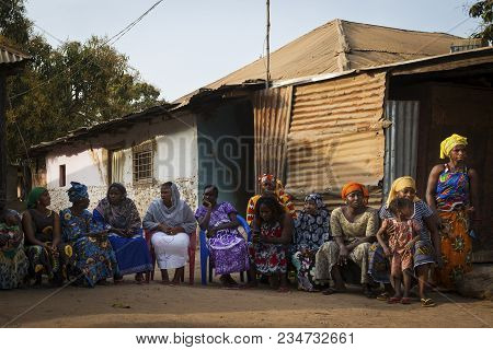 Bissau, Republic Of Guinea-bissau - January 29, 2018: Portrait Of A Group Of Women At A Community Re