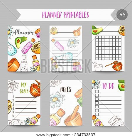 Spa Organizer Hand Drawn Cosmetics And Aromatherapy Planner. Wellness Center Notesr. Cartoon Sketch