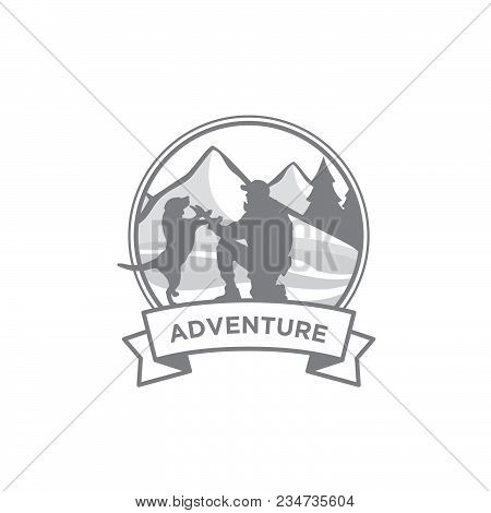 Mountains Vintage Logo Emblem Vector Illustration. Men And Dog At Outdoor Adventure Expedition With