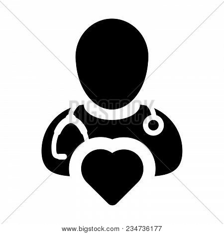 Doctor Icon Vector Cardiologist Specialist With Heart Symbol For Male Physician Profile Avatar In Gl