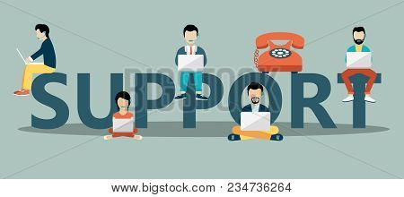 Business Customer Care Service Concept. Huge Text And People Sitting On It With Lap Tops And Headpho