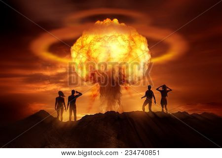 People Watching The End Of The World As A Nuclear Bomb Explodes In Front Of Them. Mixed Media Illust