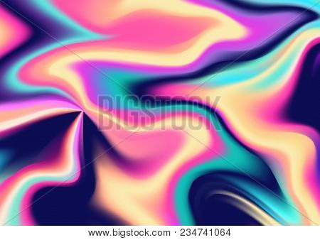 Abstract Iridescent Swirling Background Pattern. Vector Illustration