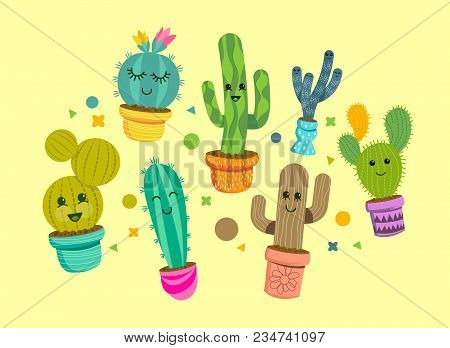 A Collection Of Bright And Happy Cactus Plant Characters In Colourful Pots. Vector Illustration.