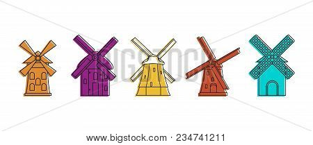 Windmill Icon Set. Color Outline Set Of Windmill Vector Icons For Web Design Isolated On White Backg