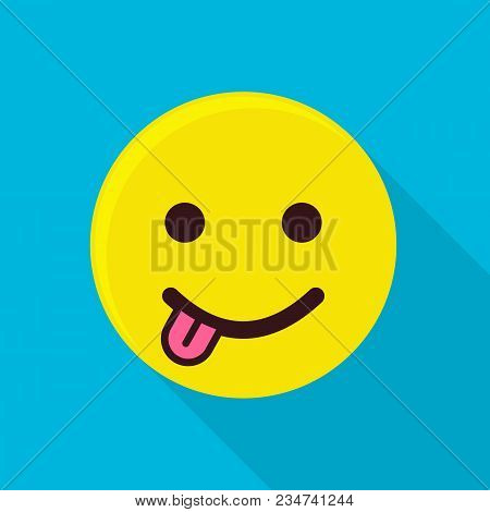 Emoticon With Tongue Icon. Flat Illustration Of Emoticon With Tongue Vector Icon For Web