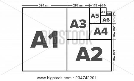 Paper Sizes Vector. Paper Size Standards. Isolated Illustration
