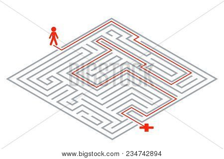 Pass Way Intricacy Labyrinth Isometric 3d Maze Design Template Vector Illustration