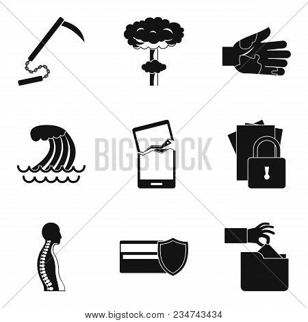 Misdeed Icons Set. Simple Set Of 9 Misdeed Vector Icons For Web Isolated On White Background