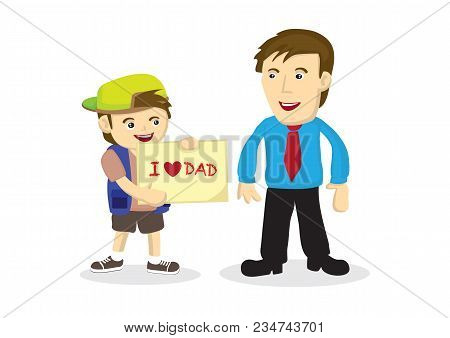 Vector Cartoon Illustration Of A Child Giving A Hand Drawn Card To His Father. Concept Of Bonding Be