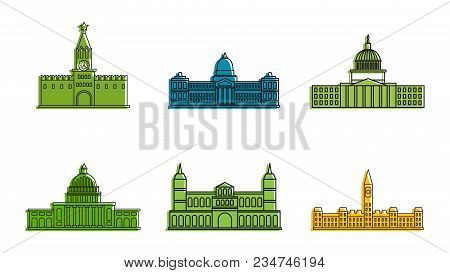 Parliament Icon Set. Color Outline Set Of Parliament Vector Icons For Web Design Isolated On White B