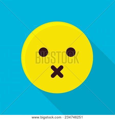 Silent Emoticon Icon. Flat Illustration Of Silent Emoticon Vector Icon For Web
