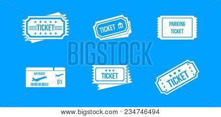 Ticket Icon Set. Simple Set Of Ticket Vector Icons For Web Design Isolated On Blue Background