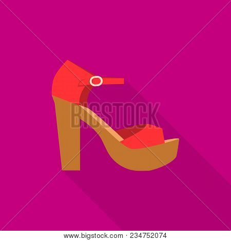 Beach Sandal Icon. Flat Illustration Of Beach Sandal Vector Icon For Web