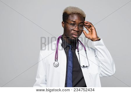 Closeup Shot Of African American Doctor In White Uniform Isolated On White Background With Stethosco