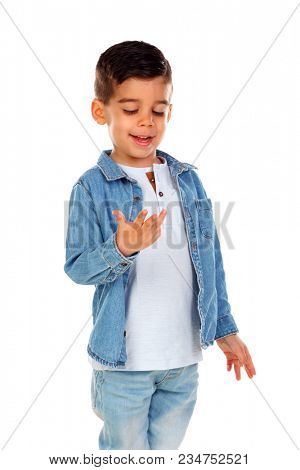 Smiling child counting his fingers isolated on a white background
