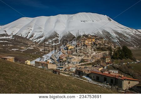 Aerial View Of Castelluccio Di Norcia Village Destroyed By Earthquake Of 6.5 Richter Scale, Umbria,
