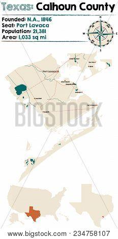 Detailed Map Of Calhoun County In Texas, Usa