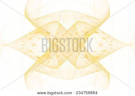 Bright Abstract Fractal Gold Veil Of Fantasy, Fractal Yellow Waves Fantasy