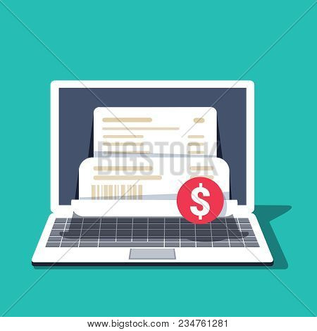 Payment For Goods Or Services Via The Internet From A Laptop, Computer. Payment, Bill, Invoice, Purc
