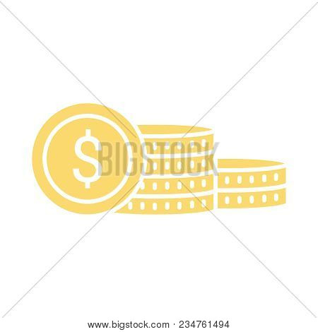 Vector Money Coins Icon. Saving Money Concept Sign With Coin Stack Growing Business. Payment System.