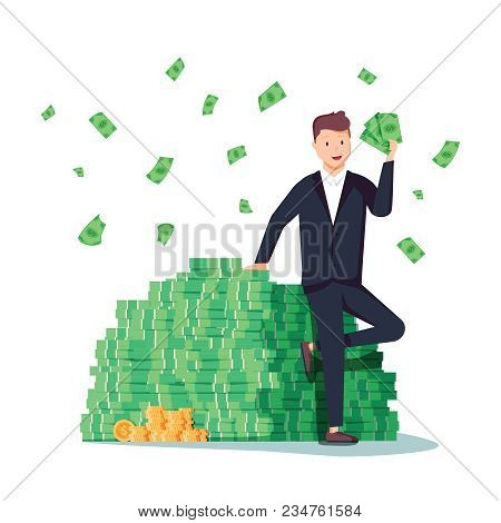Happy Rich Man Sitting Confidently On Big Heap Of Stacked Money Dangling His Leg. Billionaire Busine