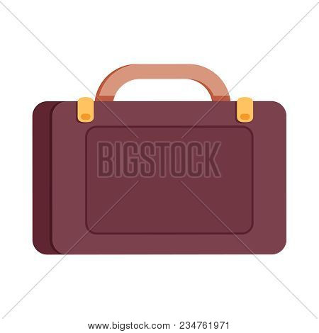 Briefcase Or Suitcase Vector Icon. Brown Elegant, Modern Briefcase With Locks. Flat Style Profession